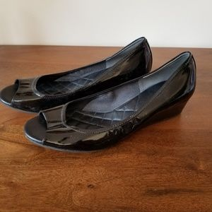 Cole Haan Emory Style Black Patent Open Toe Wedge